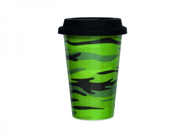 Coffee to go Becher 300 ml in camouflage grün, inkl. Deckel in schwarz